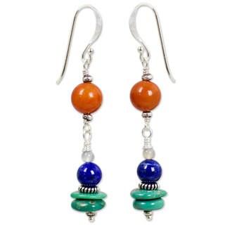 Aventurine and Lapis Lazuli Dangle Earrings, 'Orange Sun' (Thailand)