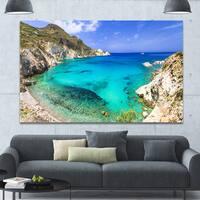 Designart 'Greece Beaches of Milos Island' Landscape Wall Artwork - Multi-color