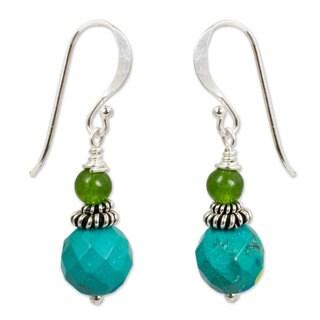 Handmade Beaded Dangle Earrings, 'Mint Julep' (Thailand)