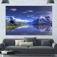 Designart '3D Rendered Mountains and Lake' Landscape Wall Artwork