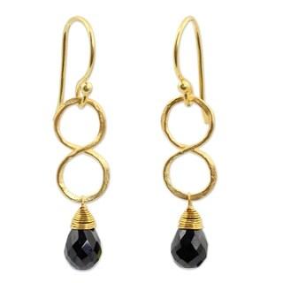 Handmade Gold Plated Onyx Earrings, 'Infinity' (Thailand)