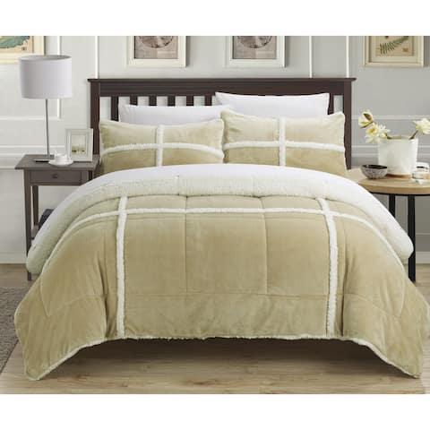 Chic Home 3-Piece Chiron Mink, Sherpa Lined Comforter Set, Taupe