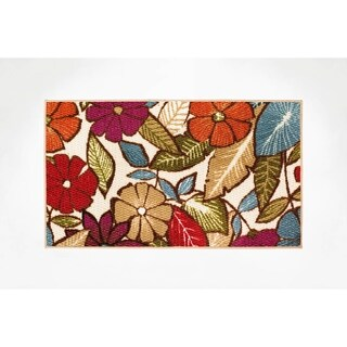 Modern Living Flowers Decorative Accent Rug - 18 x 30 in.