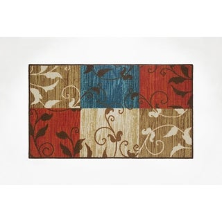 Modern Living Leaf Vine Squares Decorative Accent Rug - 18 x 30 in.