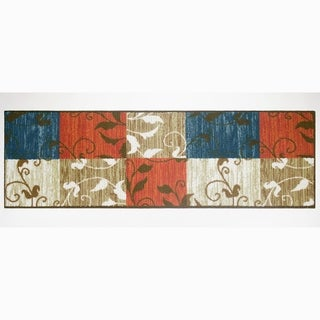 "Modern Living Leaf Vine Squares Decorative Accent Rug - 1'6"" x 5'"