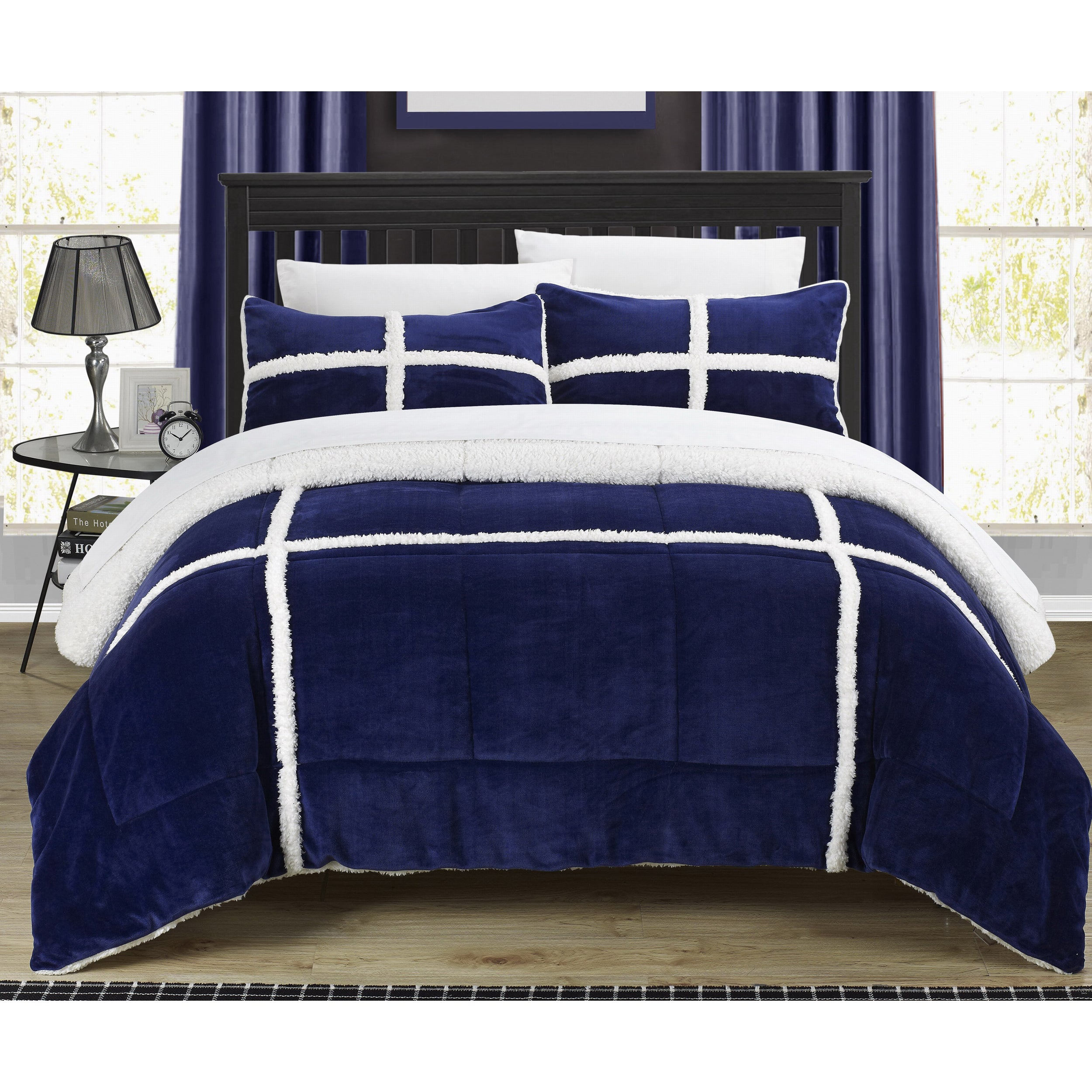 Chic Home 3 Piece Chiron Mink Sherpa Lined Comforter Set Navy On Sale Overstock 14544889