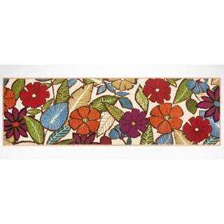 Modern Living Flowers Decorative Accent Rug - 20 x 60 in.