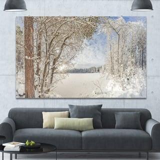 Designart 'Lake in Winter Woods' Landscape Wall Artwork
