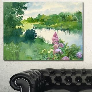 Designart 'Green Riverside Land Watercolor' Landscape Wall Artwork