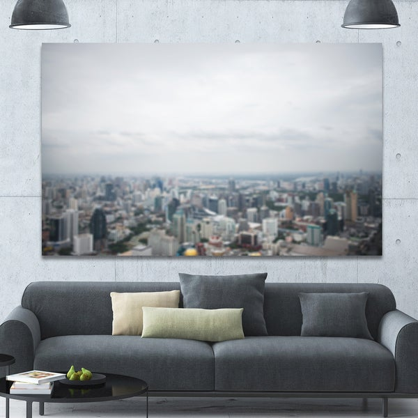 Designart 'Panoramic Aerial View of Big City' Landscape Wall Artwork