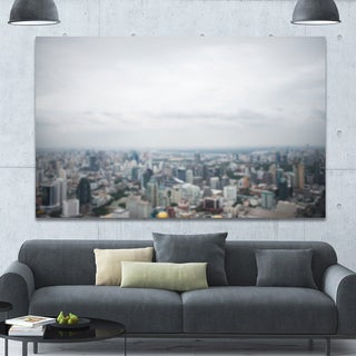 Designart 'Panoramic Aerial View of Big City' Landscape Wall Artwork - White