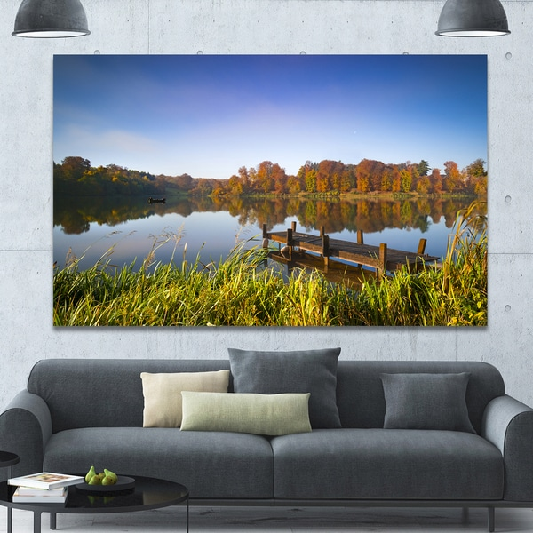 Designart 'Still Waters of Fall Lake' Landscape Wall Artwork