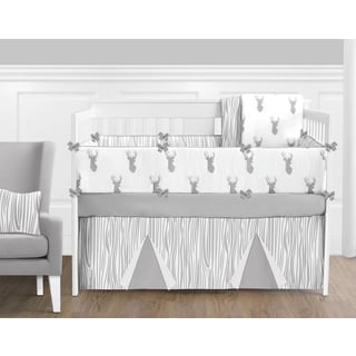 Sweet Jojo Designs Grey and White Stag Collection 9-piece Crib Bedding Set