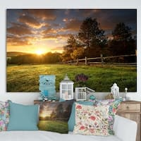Designart 'Fenced Ranch at Sunrise' Modern Landscape Art - Multi-color