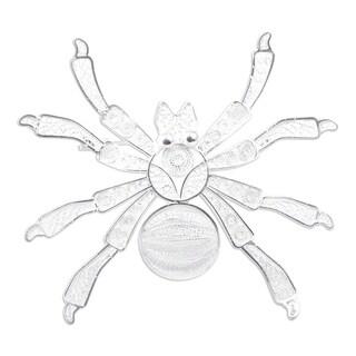 Handmade Silver Filigree Brooch Pin, 'Gossamer Spider' (Peru)