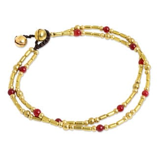 Handmade Red Quartz Anklet, 'Golden Bell' (Thailand)