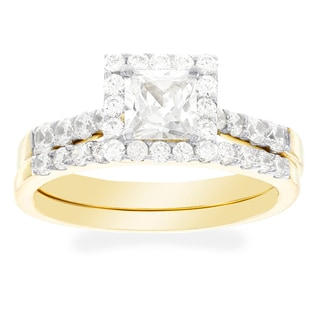H Star 10k Yellow Gold Princess-cut Cubic Zirconia Bridal Set