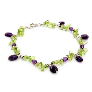 Handmade Peridot and Amethyst Anklet, 'Forest Fiesta' (India)