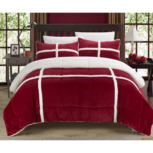 Chic Home 3-Piece Chiron Mink, Sherpa Lined Comforter Set