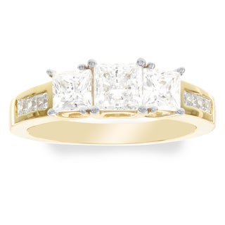 H Star 10k Yellow Gold 1.5-carat Cubic Zirconia 3-stone Ring