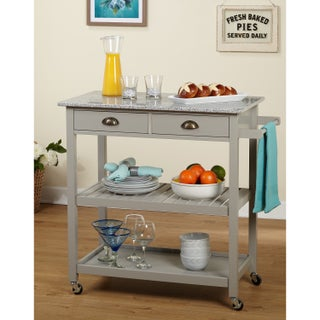 Simple Living Oregon 2 Drawer Rolling Kitchen Island (Option: Simple Living Oregon Kitchen Cart in Grey)