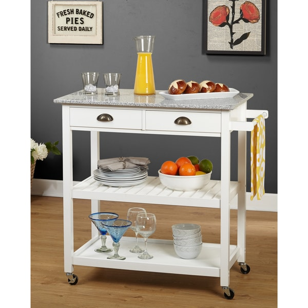 Simple Living Oregon 2 Drawer Rolling Kitchen Island