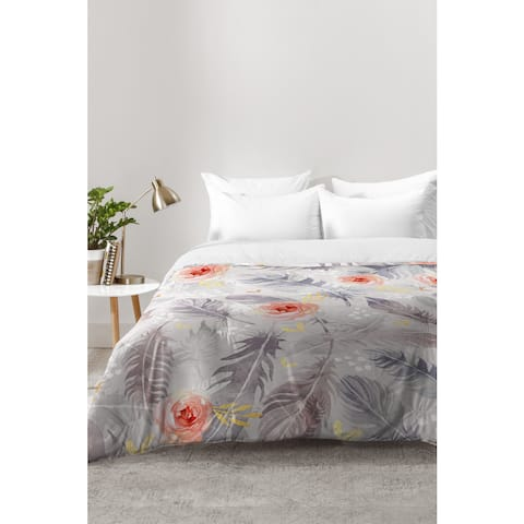 Marta Barragan Camarasa Abstract Floral With Feathers Comforter