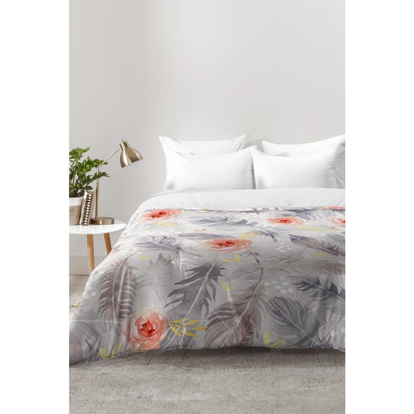 Marta Barragan Camarasa Abstract Floral With Feathers Comforter. Opens flyout.