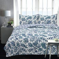 Lauren Taylor - Jessica 3pc Microfiber Printed Coverlet Set