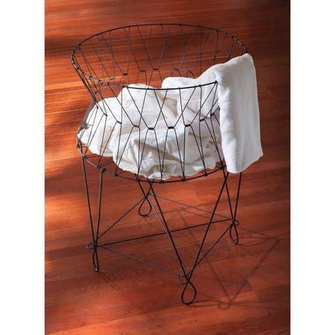Large Vintage Black Wire Laundry Basket Hamper