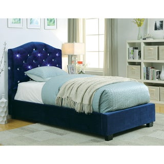 Furniture of America Leon Contemporary Flannelette Twin-Size Platform Bed with LED Headboard