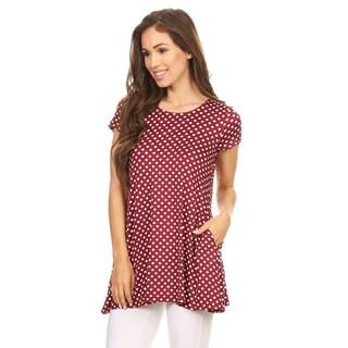 Women's Burgundy Rayon and Spandex Polka-dot Tunic