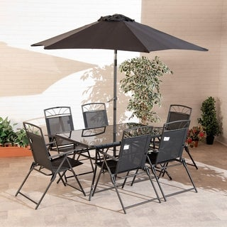 8-piece Memphis Steel Dining Collection Black