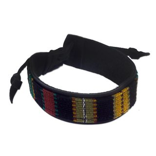 Handmade Men's Leather and Cotton Wristband Bracelet, 'Dawn' (Guatemala)
