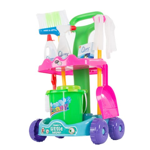 Hey! Play! Pretend Play Cleaning Set with Caddy on Wheels