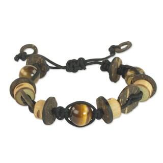 Tiger's Eye and Wood Beaded Bracelet, 'Viva' (Ghana)
