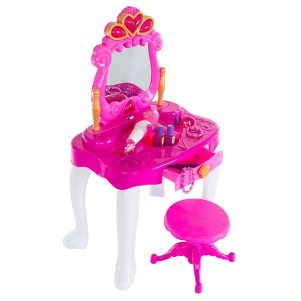 Hey! Play! Pretend Play Princess Vanity with Stool, Accessories, Lights, Sounds