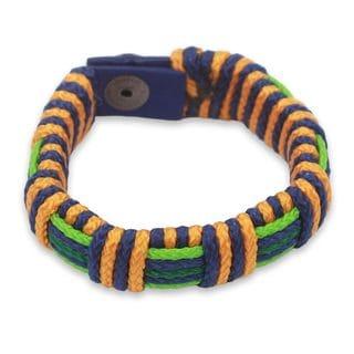Men's Wristband Bracelet, 'Gratitude Kente' (Ghana)