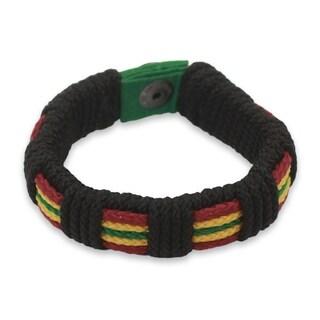 Men's Wristband Bracelet, 'Reggae Kente' (Ghana)