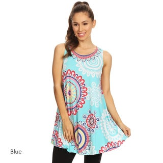 Women's Multicolor Medallion-pattern Sleeveless Tunic