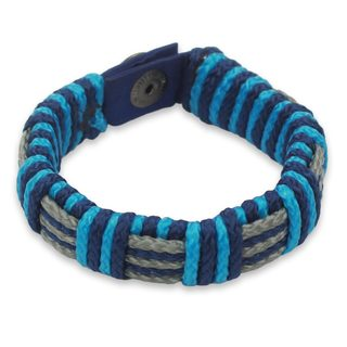 Men's Wristband Bracelet, 'Blue Kente' (Ghana)