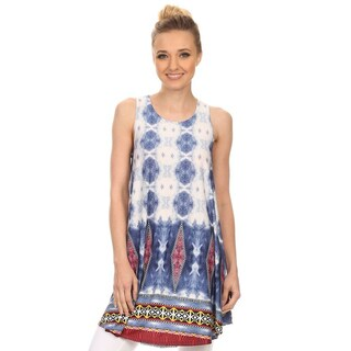 Women's Blue Sleeveless Paisley Pattern Tank Top
