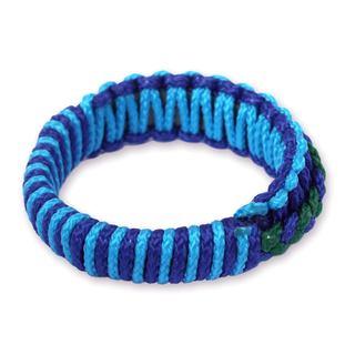 Bangle Bracelet, 'Blue and Green Hausa' (Ghana)