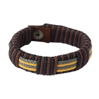 Men's Wristband Bracelet, 'Song of Africa' (Ghana)