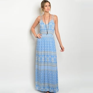 Shop The Trends Women's Spaghetti Strap Maxi Dress With Crochet Lace Back And Allover Tribal Print