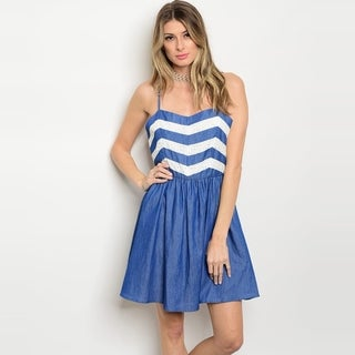 Shop The Trends Women's Spaghetti Strap Babydoll Denim Dress With Chevron Top Print And Sweetheart Neckline