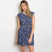 Shop The Trends Women's Cap Sleeve Shift Dress With Allover Print And Skinny Self Tie Belt