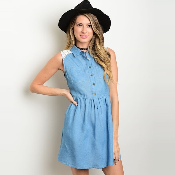 0887b43a5374e9 Shop The Trends Women  x27 s Sleeveless Chambray Denim Dress With Empire  Waist And