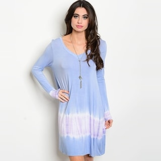 Shop The Trends Women's Long Sleeve Jersey Knit Dress With Tie Dye Print And Scoop Neckline
