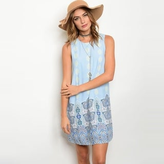 Shop The Trends Women's Sleeveless Border Print Shift Tunic Dress With Cutout Back And Round Neckline